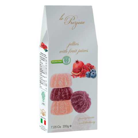 Pomegranate & Blueberry Italian Fruity Jellies Sweets Le Preziose 200g